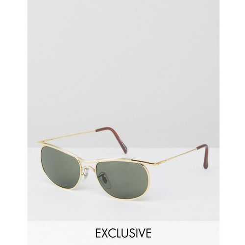 inspired square sunglasses in gold exclusive to asos - gold marki Reclaimed vintage