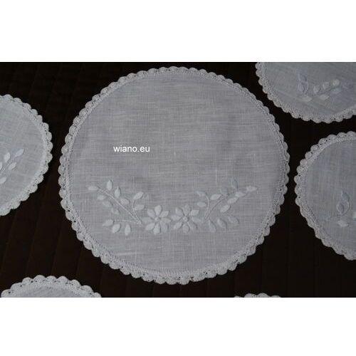 Twórczyni ludowa Komplet haftowanych serwetek 1+6 - haft biały (gs-10)