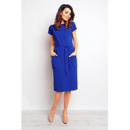 Niebieska casualowa sukienka z kieszeniami i wiązaniem marki Infinite you