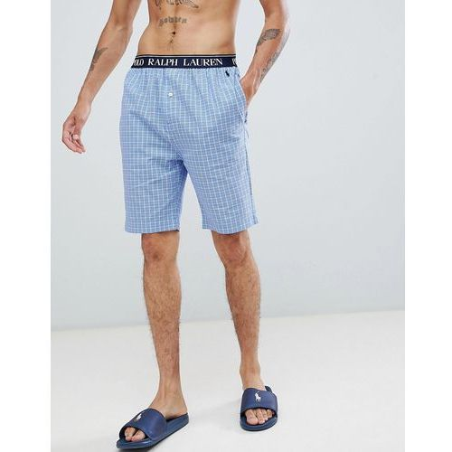 slim fit lounge shorts in blue check with logo waistband - multi marki Polo ralph lauren