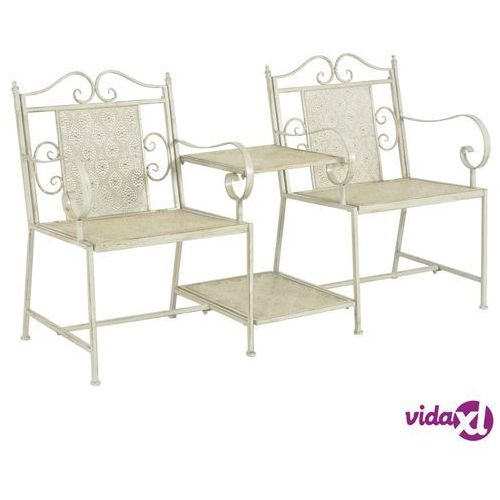 Vidaxl ławka do ogrodu, stal, kolor biały