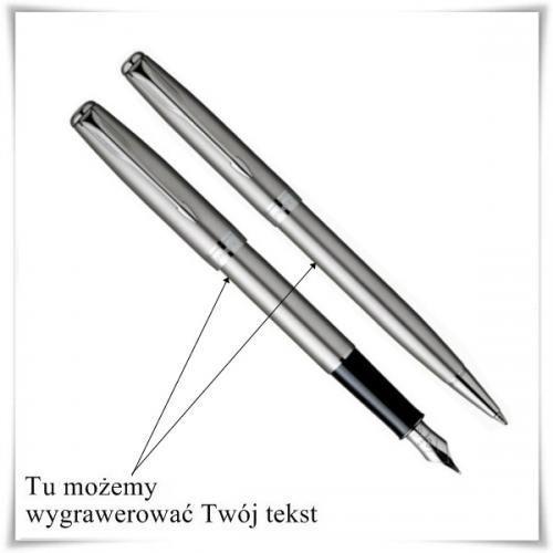 OKAZJA - Zestaw długopis i pióro Parker Sonnet Stalowy CT z opcją graweru dowolnych życzeń - produkt z kategorii- Na imieniny dla męża
