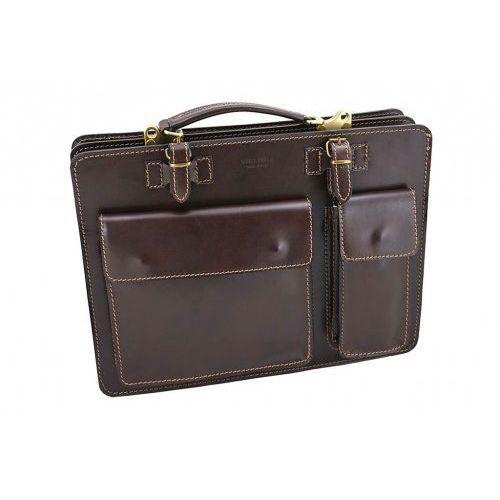 Teczki męskie skórzane - Barberini's - Brązowy ciemny, kolor brązowy