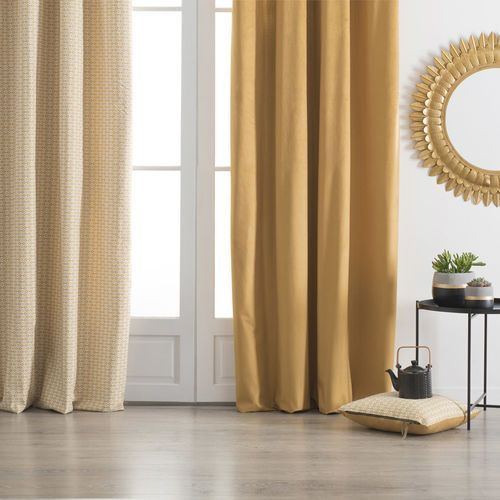 Atmosphera créateur d'intérieur Musztardowa zasłona na przelotkach, zasłona do salonu, zasłony do sypialni, zasłona na okno, modne zasłony, zasłony na kółkach (3560239693482)