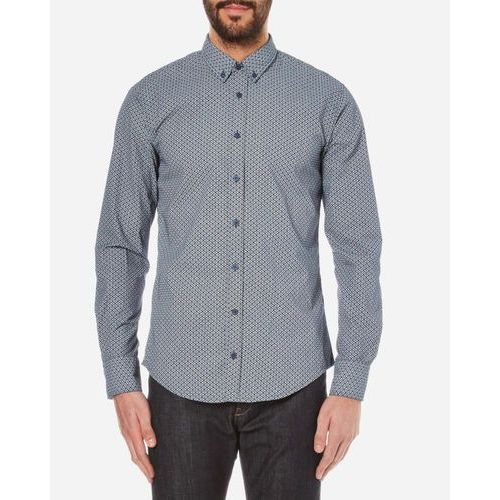BOSS Orange Men's Epidoe Patterned Long Sleeve Shirt - Dark Blue - L z kategorii Pozostałe