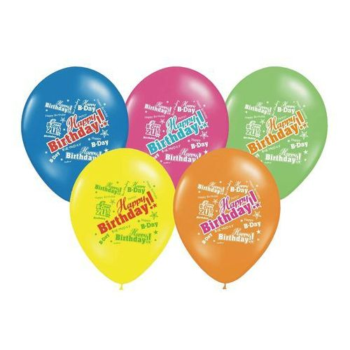 BALON HAPPY BIRTHDAY MIX 30cm 1szt, #A623^g