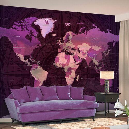 Artgeist Fototapeta - fioletowa mapa świata