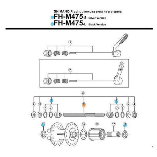 Shimano Oś piasty tył fhm570/m525/m510 m290/m475/rm40 drążona(146mm, non-series (4524667171683)
