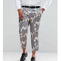 ASOS PLUS Wedding Skinny Crop Smart Trousers With Light Grey Floral Print - Grey, kolor szary