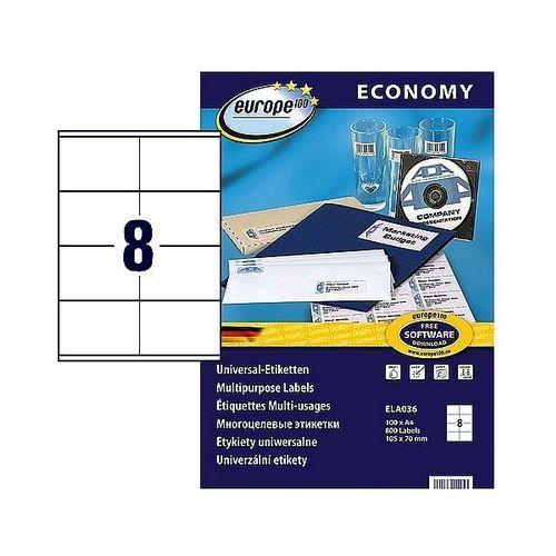 Etykiety samoprzylepne economy 105x70mm białe, 100ark. a4, ela036 marki Avery zweckform