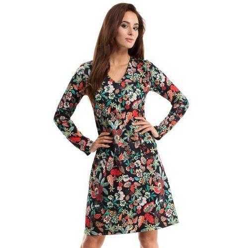 MOE257 Sukienka trapezowa - kwiatowy, trapezowa