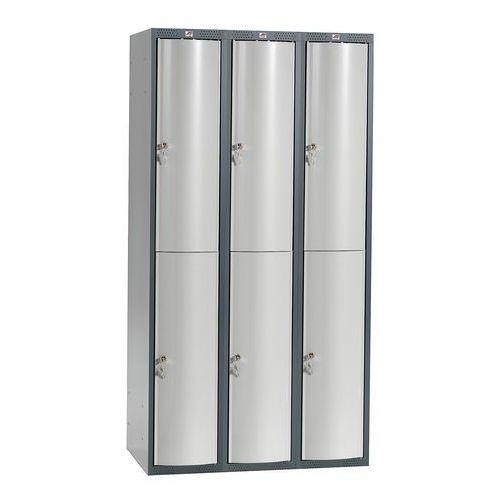 Szafa szatniowa Curve 3 sekcje 6 drzwi 1740x900x550 mm jasnoszary metal, 1311253