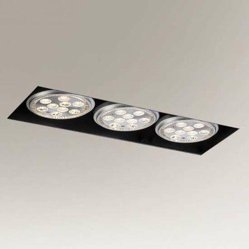 Wpust LAMPA sufitowa YATOMI 3332 Shilo prostokątna OPRAWA podtynkowa OCZKA regulowane listwa metalowa czarna, kolor biały;czarny