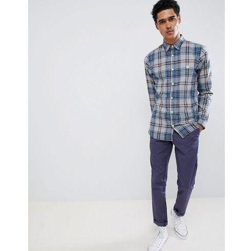 Le Breve Flannel Longline Check Shirt - Blue