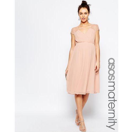 ASOS Maternity Kate Lace Midi Dress - Pink, kolor różowy
