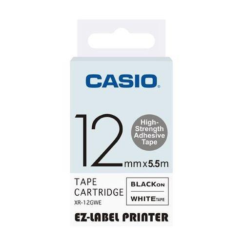 Casio taśma etykiet (zwiększona trwałość) XR-12GWE, XR12GWE, XR-12GWE