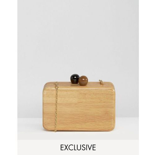 Reclaimed Vintage Wooden Clutch Bag With Cross Body Chain - Brown ()