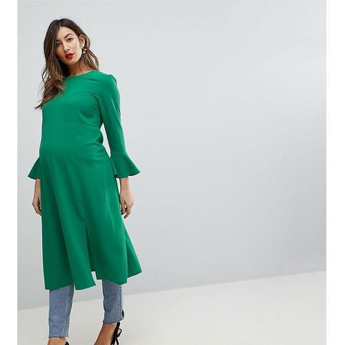 ASOS Maternity Fluted Sleeve Midi Dress with Split - Green, kolor zielony
