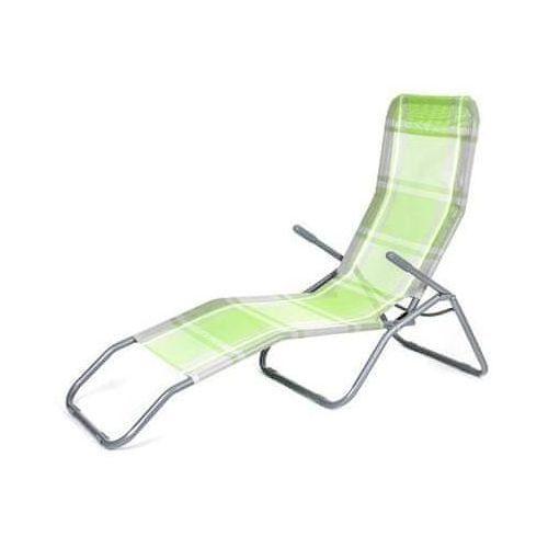 Happy Green leżak plażowy w kratkę - zielony/biały (8591022355466)