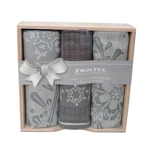 Komplet ścierek ZWOLTEX w drewnianym pudełku wzór ŚNIEŻKA szary, ZX02-2/F