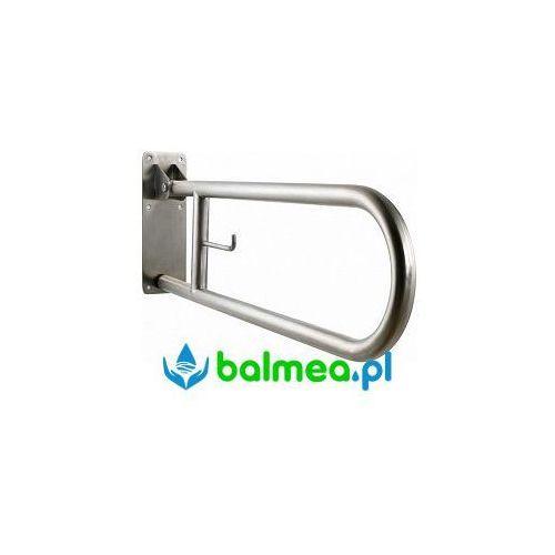 Poręcz uchylna dla niepełnosprawnych z uchwytem na papier toaletowy 750 MM stal nierdzewna polerowana