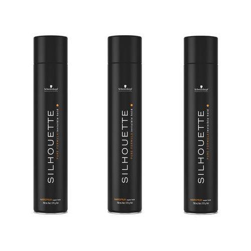 Schwarzkopf silhouette super hold | bardzo mocny lakier do włosów 750ml x3