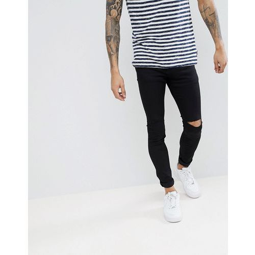 Pull&bear super skinny jeans with knee rips in black - black