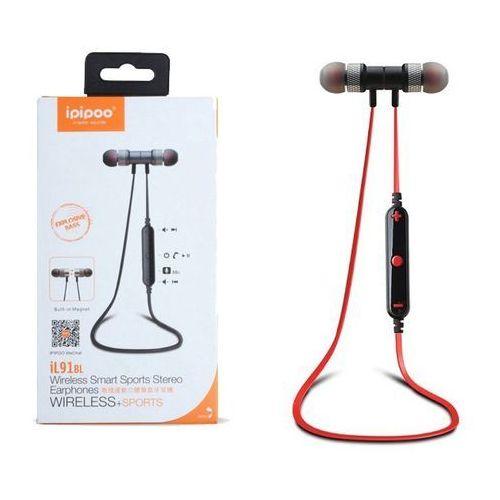 ipipoo iL91BL Czarno-czerwone by AWEI douszne słuchawki bezprzewodowe Bluetooth 4.2