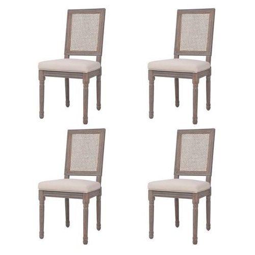 Krzesła do jadalni tapicerowane lnem, 4 szt., rattan, kremowe, kolor beżowy