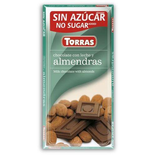 Czekolada mleczna z migdałami, bez cukru, bezglutenowa 75g marki Torras