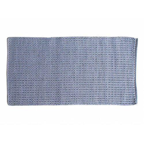 Ręcznie dziergany na drutach chodnik halk z bawełny – 80 × 200 cm – kolor szaro-niebieski marki Vente-unique