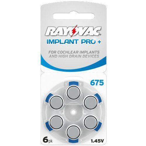 6 x baterie do aparatów słuchowych Rayovac 675 IMPLANT PRO+ MF, 675CP-6IMPMF