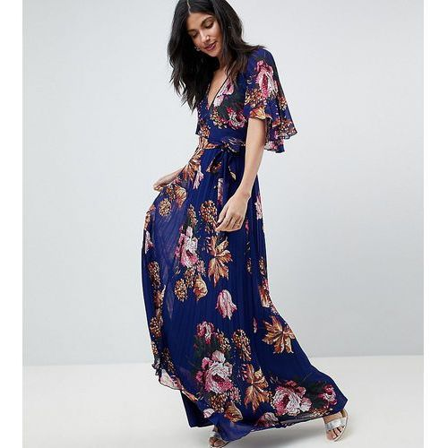 pleated maxi dress with flutter sleeve in floral print - navy marki Asos tall