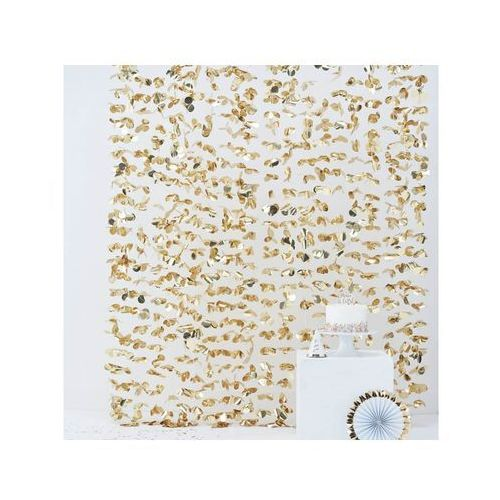 Kurtyna - zasłona na drzwi kwiatowa metaliczna złota - 180 x 200 cm (5055995965730)