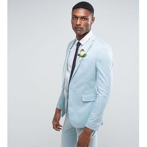 Asos design Asos tall wedding skinny suit jacket in light blue stretch cotton - blue