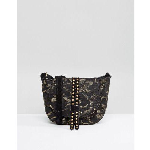 studded jacquard mini saddle bag with suede strap - black marki Park lane