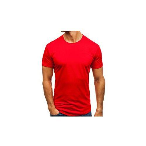 T-shirt męski bez nadruku czerwony denley 181227, Breezy