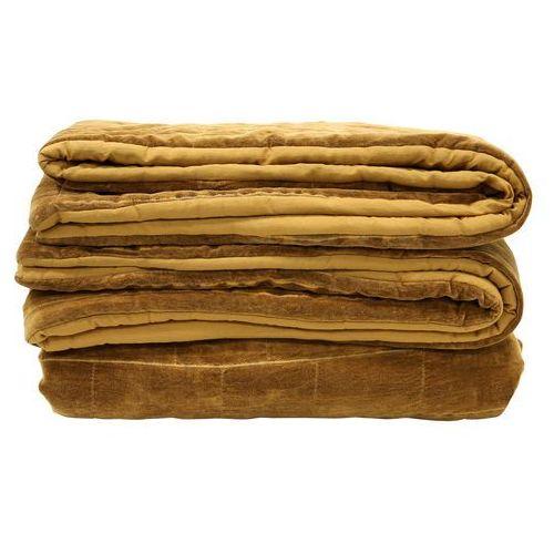 Hk living Miękka bawełniana narzuta na łóżko w kolorze brunatno-żółtym(230x250) (8718921014199)