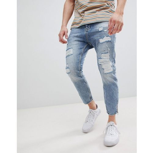 Stradivarius Carrot Fit Jeans With Zips and Abrasion In Light Blue - Blue, jeansy