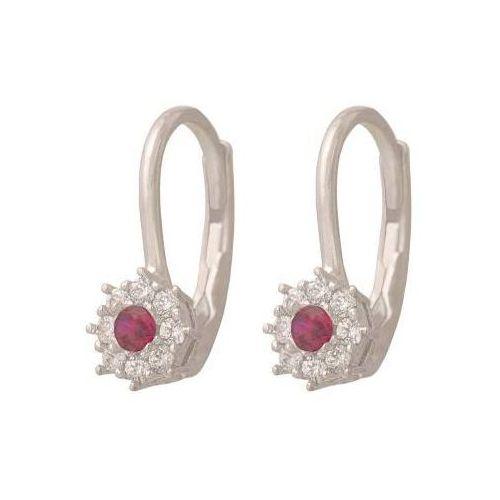 Kolczyki markizy 585 białe złoto z cyrkoniami i kamieniem w kolorze rubinowym marki Lovrin
