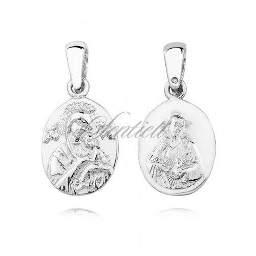 Srebrny (pr.925) medalik diamentowany Matka Boska Nieustającej pomocy / Serce Jezusa - dwustronny - KS0188C