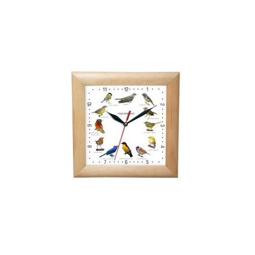 Zegar drewniany kwadrat z głosami ptaków #1, ATW2650PS