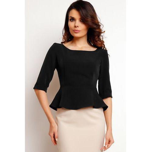 Elegancka Czarna Bluzka z Baskinką, kolor czarny