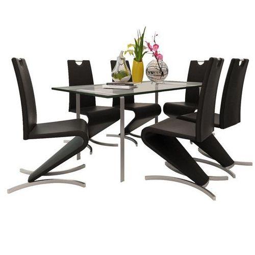 Vidaxl Krzesła wspornikowe do jadalni, 6 szt., sztuczna skóra, czarne