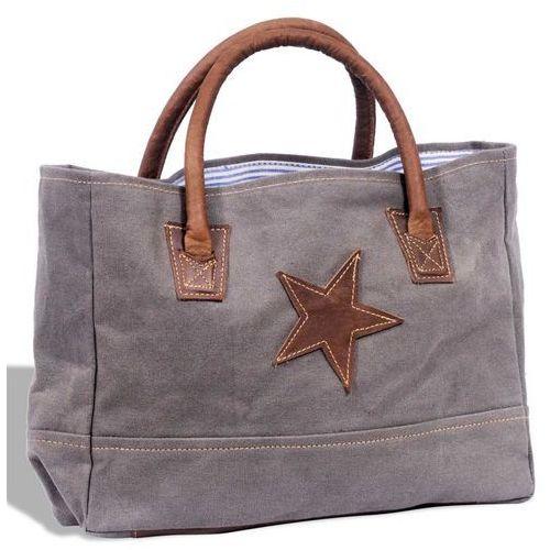 Vidaxl płócienno-skórzana torba na zakupy z gwiazdą, ciemnoszara (8718475944843)