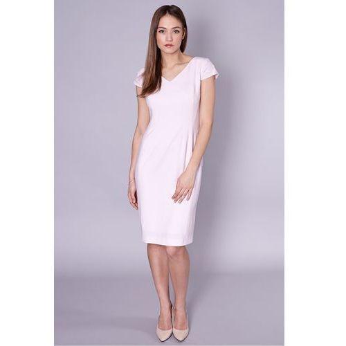 Jasnoróżowa sukienka z metalicznym połyskiem - marki Click fashion