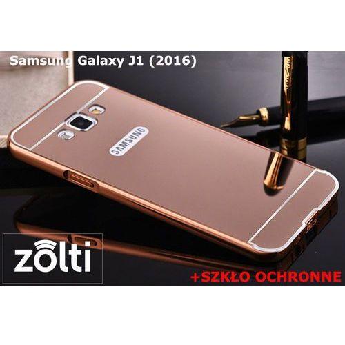 Zestaw   Mirror Bumper Metal Case Różowy + Szkło ochronne Perfect Glass   Etui dla Samsung Galaxy J1 (2016) (Futerał telefoniczny)