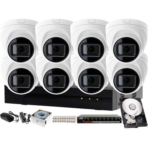 Profesjonalny zestaw do monitoringu rejestrator ip hwn-4108mh + 8x kamera fullhd hwi-t641h-z + akcesoria marki Hikvision hiwatch