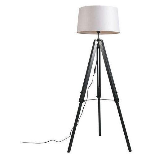 Qazqa Lampa podłogowa tripod czarna z kloszem 45cm lniany, jasnoszary
