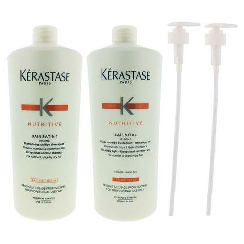 Kerastase Satin 1 Bain and Lait Vital | Zestaw odżywczy do włosów suchych: kąpiel 1000ml + mleczko 1000ml + 2x POMPKA (9753197531548)